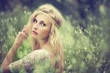 Vintage portrait of a beautiful girl in a magical place  Ludzie Obraz