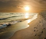 Golden Sunset On The Sea Shore  Krajobraz Fototapeta