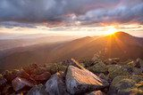 Majestic sunset in the mountains landscape. Dramatic sky and col  Krajobraz Fototapeta