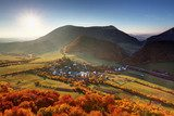 Autumn village in Slovakia countryside  Krajobraz Fototapeta