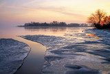 Winter landscape with lake and sunset sky. Composition of nature  Krajobraz Fototapeta