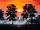 oil painting landscape - sunset in the forest, fog  Krajobraz Fototapeta