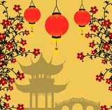 Asian style background, vector illustration  Orientalne Fototapeta