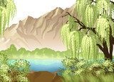 Idyllic landscape with willow and mountain  Orientalne Fototapeta