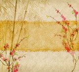 bamboo and plum blossom on old antique paper texture  Orientalne Fototapeta