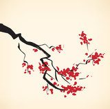 Cherry tree branch  Orientalne Fototapeta
