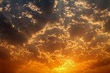 Golden dawn skies sunrays silver edged cumulus clouds  Niebo Fototapeta