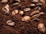 Coffee beans and ground coffee mixed  Kawa Fototapeta