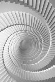 3d illustration background with white spiral stairs perspective  Schody Fototapeta