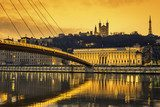 View of Saone river at Lyon at sunset  Fototapety Mosty Fototapeta