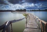 Wooden bridge crossover reservoir southern of Thailand  Mosty Fototapeta
