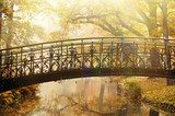 Old bridge in autumn misty park  Fototapety Mosty Fototapeta