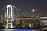 Tokyo rainbow bridge and moon at night time  Fototapety Miasta Fototapeta