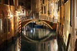 Venice bridge and canal at night  Miasta Fototapeta