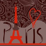 Love in Paris background, decorative Paris word with Eiffel towe  Wieża Eiffla Fototapeta
