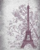 Retro poster of Eiffel tower from Paris, France  Wieża Eiffla Fototapeta