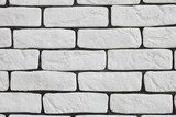 Background of white brick wall texture  Mur Fototapeta