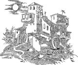 old house in the village  Drawn Sketch Fototapeta