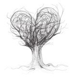 Tree like heart / realistic sketch (not auto-traced)  Drawn Sketch Fototapeta