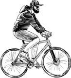 man riding a bicycle  Drawn Sketch Fototapeta