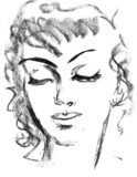Portrait of beautiful girl. Female silhouette. Sketch  Drawn Sketch Fototapeta