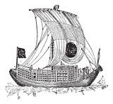 Chinese junk, an ancient sailing vessel, vintage engraving.  Drawn Sketch Fototapeta