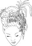 vector - women with floral hair  Drawn Sketch Fototapeta