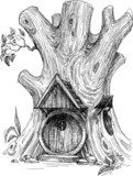 Small house in tree hollow sketch  Drawn Sketch Fototapeta