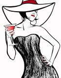 Woman with a hat drinking a cocktail  Drawn Sketch Fototapeta