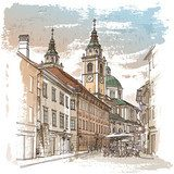Vector drawing of central street of old european town  Drawn Sketch Fototapeta