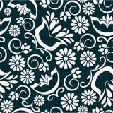 Vintage floral background seamless pattern in black white  Folklor Fototapeta
