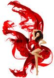 Woman dancing in red dress, fashion model waving dance  Ludzie Obraz