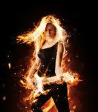 Burning girl with flaming guitar on black background  Ludzie Obraz