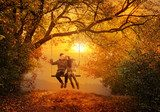 Romantic couple swing in the autumn park  Ludzie Obraz