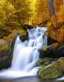 Autumnal landscape with waterfall  Wodospad Fototapeta