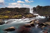 Oxararfoss waterfall in Thingvellir, Iceland  Wodospad Fototapeta