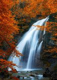 Beautiful Waterfall. Autumn  Fototapety Wodospad Fototapeta