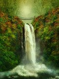 fantastic waterfall and bridge  Wodospad Fototapeta