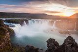 Iceland, Godafoss at sunset, beautiful waterfall, long exposure  Fototapety Wodospad Fototapeta