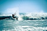 Kite surfing in waves.  Sport Plakat
