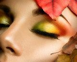 Autumn eye make-up. Closeup fashion makeup  Ludzie Plakat