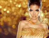 Fashion Beauty Girl Isolated on golden bokeh Background. Makeup.  Ludzie Plakat