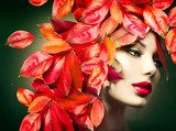Autumn Woman. Fall. Girl with colourful autumn leaves hairstyle  Ludzie Plakat