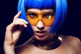 Portrait of beautiful girl with blue hair and glasses  Ludzie Plakat