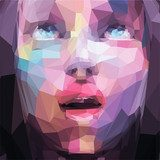 Abstract low poly, pop art portrait girl looking up  Ludzie Plakat