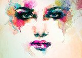 woman portrait  .abstract  watercolor .fashion background  Ludzie Plakat