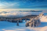 Winter sunrise over the clouds with fir full of snow  Pejzaże Plakat