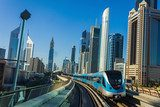 Dubai Metro. A view of the city from the subway car  Architektura Plakat