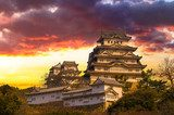 Majestic Castle of Himeji in Japan.  Architektura Plakat