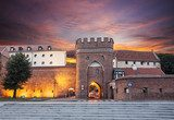 Sunset over old town of Torun, Poland.  Architektura Plakat